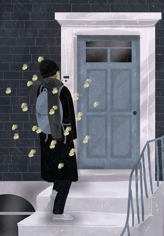 我在你家门口,等你来开门插画